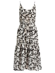 Stella Mccartney Running Horses Print Cotton Blend Midi Dress Black White