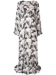 Pink Memories Palm Tree Print Maxi Dress Nude And Neutrals