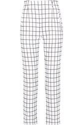 Tomas Maier Checked Brushed Cotton Straight Leg Pants White