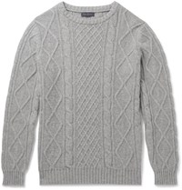 Thom Sweeney Cable Knit Cashmere Sweater Gray