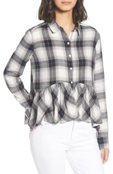 Bp. Plaid Peplum Shirt Ivory Egret Sketchy Plaid
