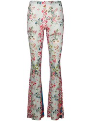 Black Coral Floral Print Flared Trousers Multicolour