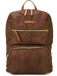 Etro Paisley Print Backpack Brown