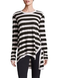 Wilt Striped Slouchy Side Slit Tee Black Cream