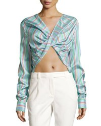Esteban Cortazar Striped Silk Wrap Front Crop Top Washed Blue