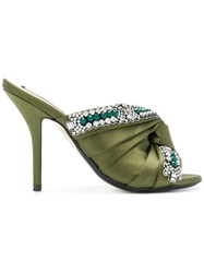N 21 No21 Embellished Knot Stiletto Mules Green