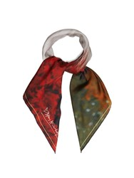 Mary Mccartney Horse And Floral Print Silk Scarf Red