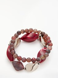 One Button Double Row Twisted Bead Bracelet Red