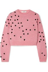 Valentino Cropped Sequin Embellished Mohair Blend Sweater Baby Pink