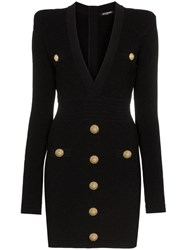Balmain Button Embellished Quilted Dress Black