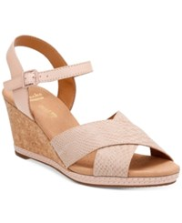 Clarks Collection Women's Helio Latitiude Wedge Sandals Women's Shoes Nude