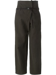 Erika Cavallini Semi Couture Safety Buckle Belt Trousers Green