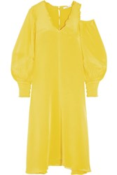 Tibi Oversized Cutout Silk Crepe De Chine Midi Dress Bright Yellow