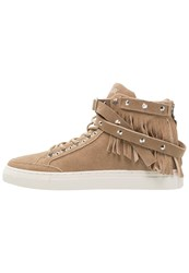 Replay Surrey Hightop Trainers Beige Taupe
