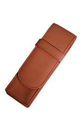 Royce Leather Genuine Leather Tan Double Pen Holder Brown