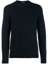 Roberto Collina Long Sleeve Fitted Sweater Blue
