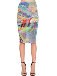 Versace Printed Stretch Tulle Pencil Skirt Multicolor