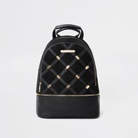 River Island Black Quilted And Stud Backpack