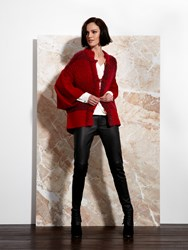 Shanghai Tang Wool And Boucle Batwing Cardigan Red