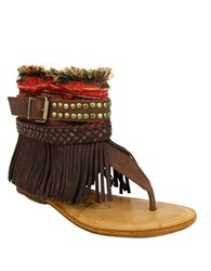 Naughty Monkey Amiga Fringe Leather Thong Sandals Brown