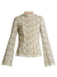 Erdem Sharon High Neck Floral Guipure Lace Top Green