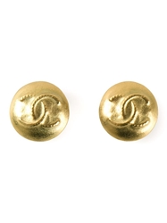 Chanel Vintage Logo Button Earrings Metallic