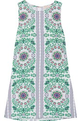 Tory Burch Garden Party Printed Linen Blend Mini Dress Green