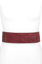 Vince Camuto Geometric Patchwork Suede And Leather Stretch Belt Garnet