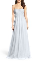 Wtoo Women's Strapless Tulle Gown French Blue
