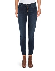 Free People Button Fly Skinny Jeans Dark Blue