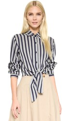 Tome Front Tie Shirt Blue Grey Stripe