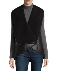 Catherine Catherine Malandrino Faux Shearling Open Front Vest Noir