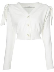 Adeam Knot Detail Cropped Cardigan White