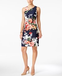 Charter Club Petite Floral Print Sheath Dress Only At Macy's Intrepid Blue Combo