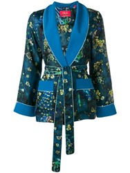 F.R.S For Restless Sleepers Floral Waist Tied Blazer Blue