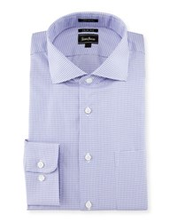 Neiman Marcus Trim Fit Houndstooth Dress Shirt Lavender
