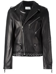 Thierry Mugler Piercing Detail Biker Jacket Black