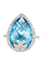 Dani G Jewelry 14K White Gold Diamond Trimmed Pear Cut Blue Topaz Ring
