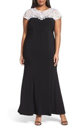 Alex Evenings Plus Size Women's Colorblock Fit And Flare Gown