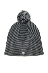 Forever 21 Striped Pom Pom Beanie Black Silver