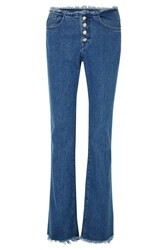 Marques' Almeida 7 For All Mankind Frayed Mid Rise Bootcut Jeans Mid Denim