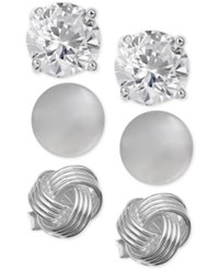 Giani Bernini 3 Pc. Set Stud Earrings In Sterling Silver Only At Macy's