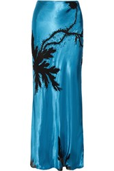 Topshop Unique Eltham Devore Satin Maxi Skirt Bright Blue