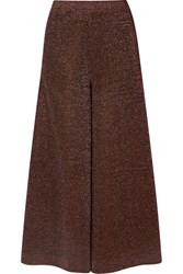 Missoni Cropped Silk Blend Lurex Wide Leg Pants Bronze