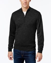 Cutter And Buck Men's Big Tall Douglas Half Zip Heathered Sweater Black
