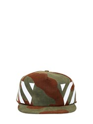 Off White Stripes Camo Print Cotton Canvas Hat