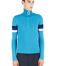 J.W.Anderson J.W. Anderson High Neck Zip Up Sweater Turquoise