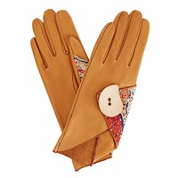 Gizelle Renee Padma Camel Brown Leather Gloves With Bf Liberty Tana Lawn Brown Nude Neutrals