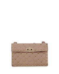 Valentino Rockstud Quilted Leather Crossbody Bag Nude
