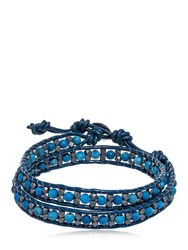 Colana Hematite And Lava Beads Wrap Bracelet Blue